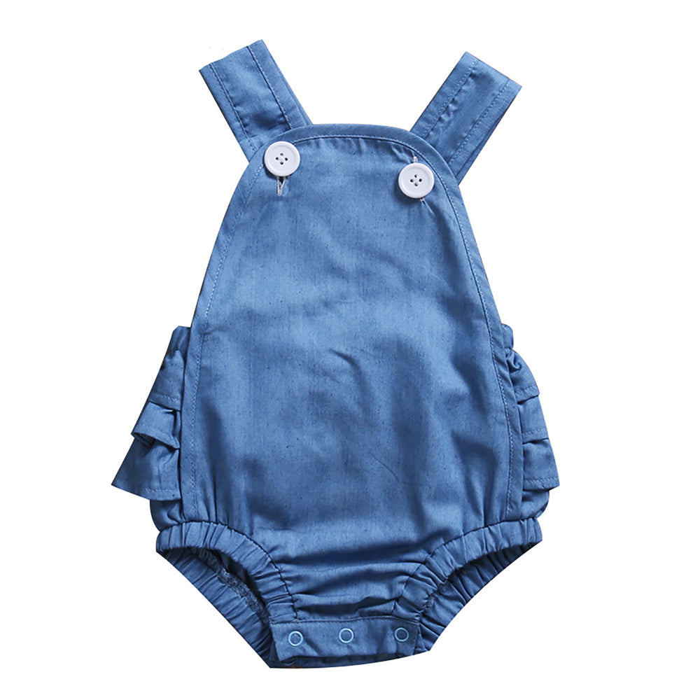 Denim Cross Strap Romper - Present Baby | clothes, rompers, bibs, shoes, blankets, dresses & more