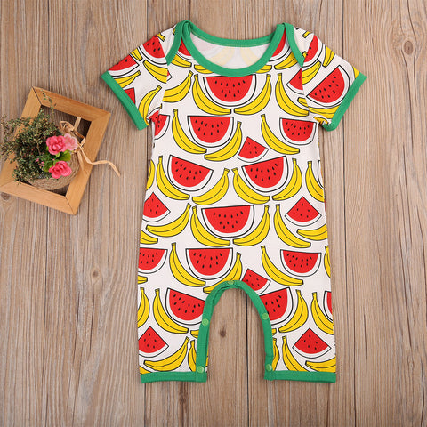 Joly Watermelon Banana Romper - Present Baby | clothes, rompers, bibs, shoes, blankets, dresses & more