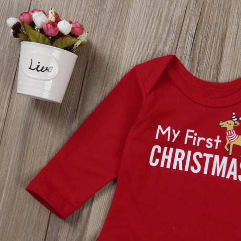 My First Christmas Brown Romper - Present Baby | clothes, rompers, bibs, shoes, blankets, dresses & more