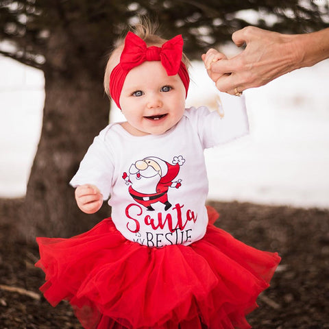 Santa Is My Bestie Romper Set - Present Baby | clothes, rompers, bibs, shoes, blankets, dresses & more
