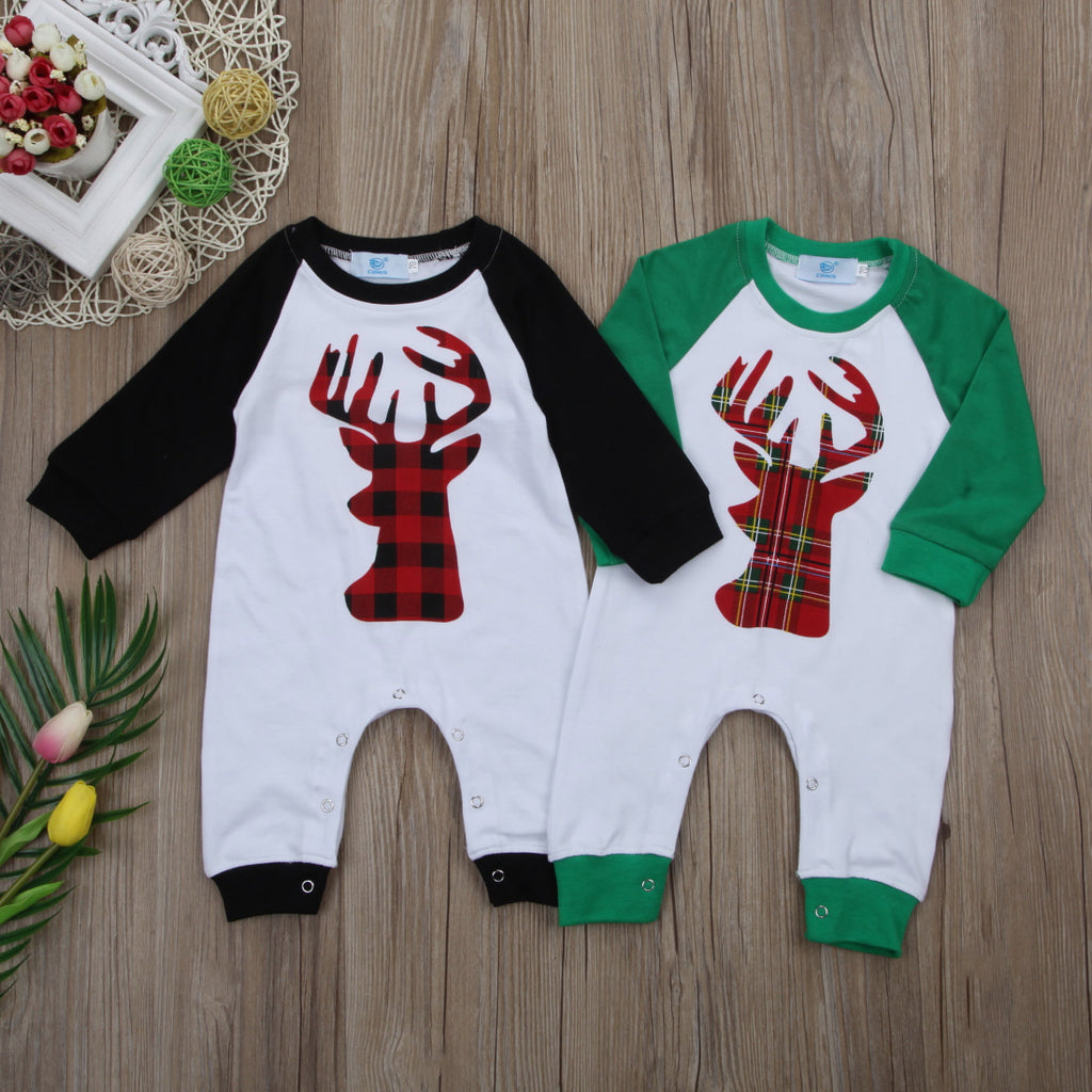 7bf14a3be496 Plaid Moose Jumper Romper – Present Baby
