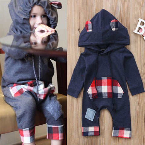 Plaid Bunny Hoodie Romper - Present Baby | clothes, rompers, bibs, shoes, blankets, dresses & more
