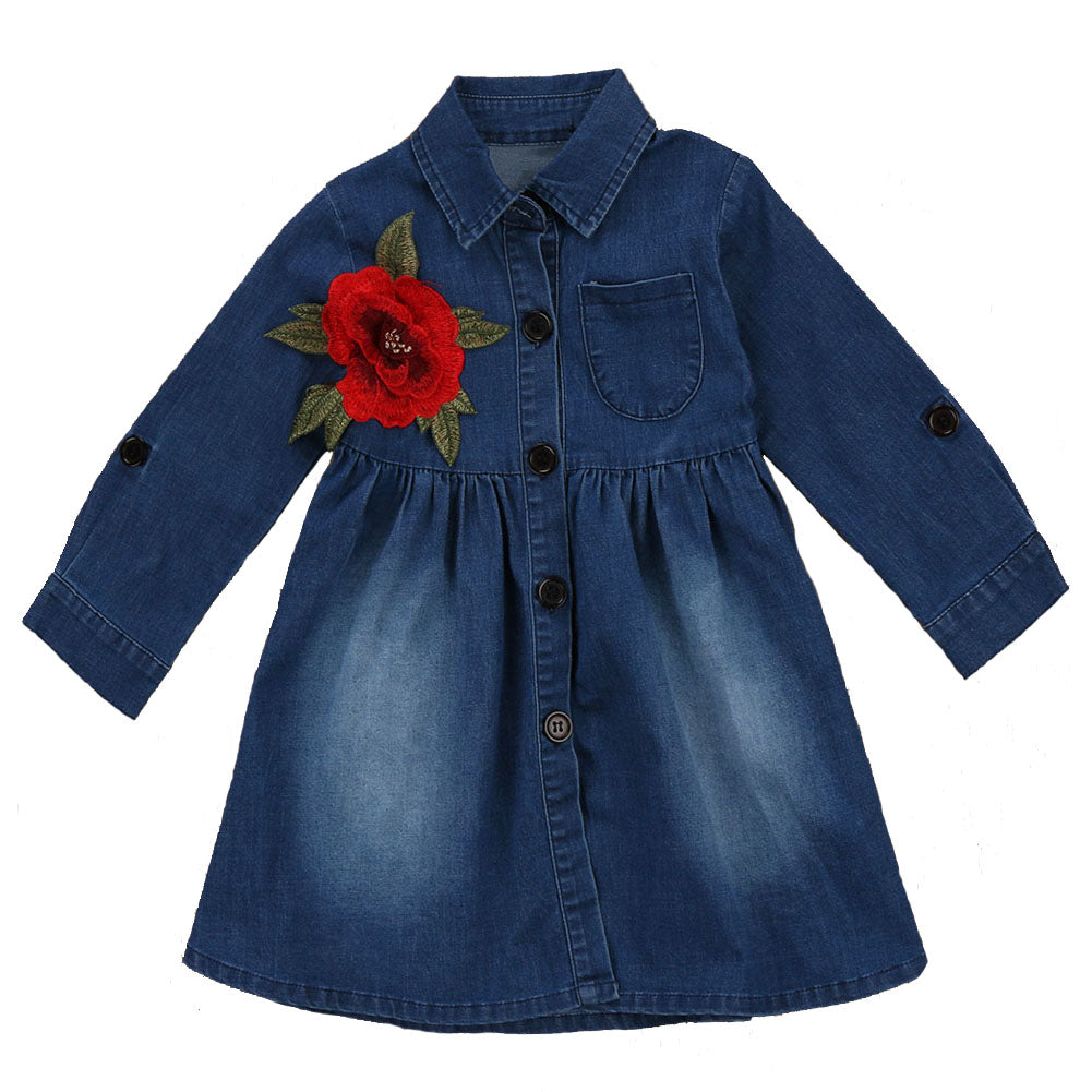 Denim Rugged Rose Dress - Present Baby | clothes, rompers, bibs, shoes, blankets, dresses & more
