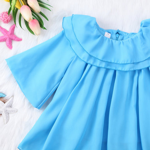 Blue Puff Ruffle Dress - Present Baby | clothes, rompers, bibs, shoes, blankets, dresses & more