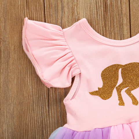 Gold Unicorn Rainbow Tulle Tutu Dress - Present Baby | clothes, rompers, bibs, shoes, blankets, dresses & more