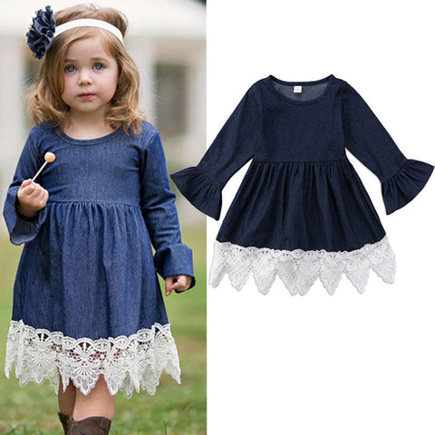 Denim Lace Flare Sleeve Dress - Present Baby | clothes, rompers, bibs, shoes, blankets, dresses & more