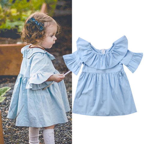 Blue Angel Flare Ruffle Dress - Present Baby | clothes, rompers, bibs, shoes, blankets, dresses & more