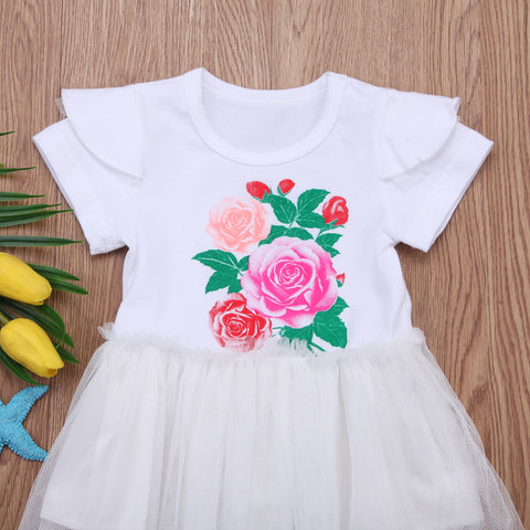 Basic White Rose Tutu Dress - Present Baby | clothes, rompers, bibs, shoes, blankets, dresses & more