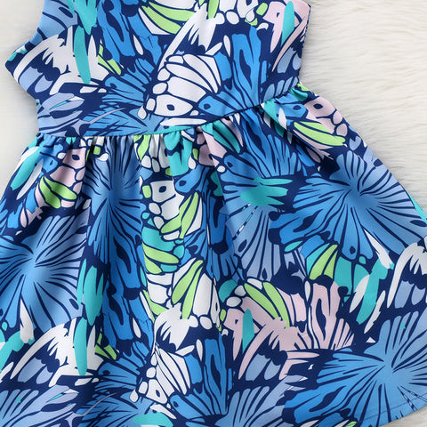 Harvestbells Floral Blue Dress - Present Baby | clothes, rompers, bibs, shoes, blankets, dresses & more