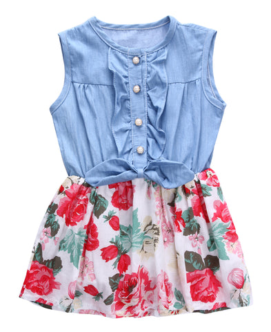 Floral Denim Daisy Dress - Present Baby | clothes, rompers, bibs, shoes, blankets, dresses & more