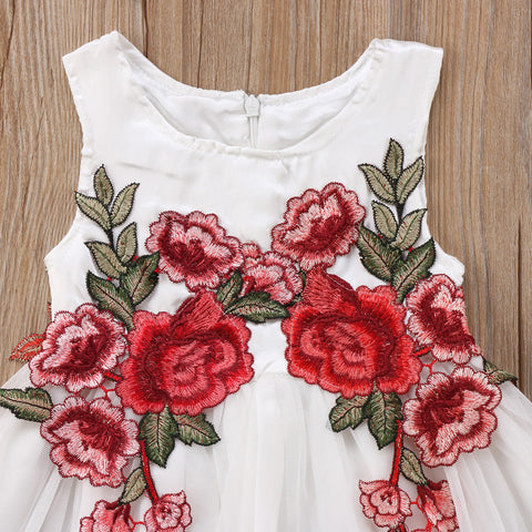 White Embroidered Roses Tulle Dress - Present Baby | clothes, rompers, bibs, shoes, blankets, dresses & more