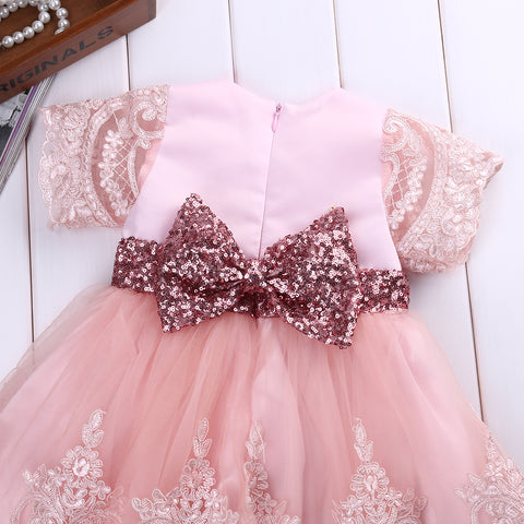 Pink Crochet Creme Dress - Present Baby | clothes, rompers, bibs, shoes, blankets, dresses & more