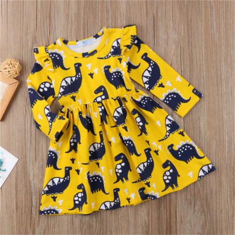 Yellow Dinosaur Dress - Present Baby | clothes, rompers, bibs, shoes, blankets, dresses & more
