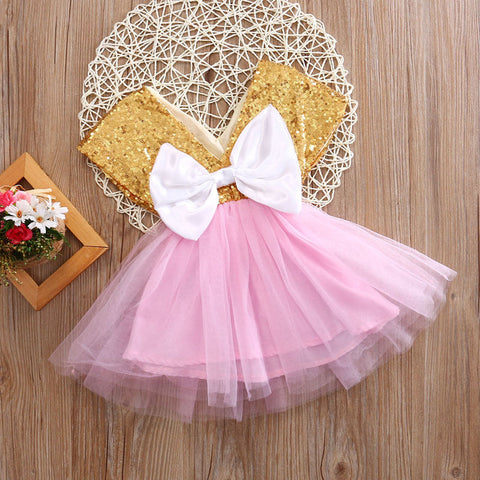 Sequin Princess Bow Tie Tulle Tutu Dress - Present Baby | clothes, rompers, bibs, shoes, blankets, dresses & more