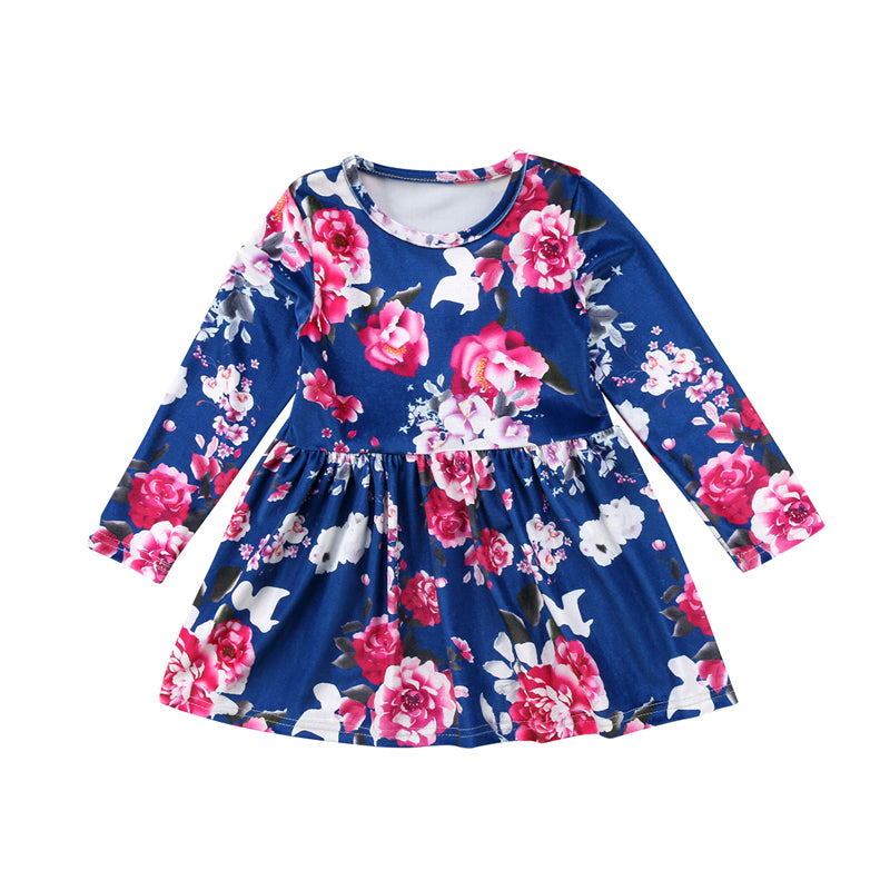 Blue Velvet Floral Dress - Present Baby | clothes, rompers, bibs, shoes, blankets, dresses & more