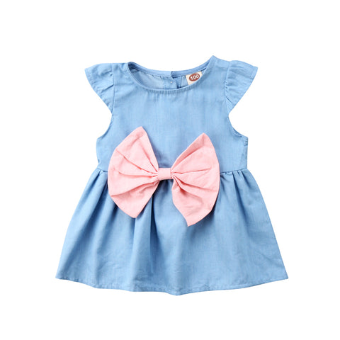 Blue Bowknot Denim Dress - Present Baby | clothes, rompers, bibs, shoes, blankets, dresses & more