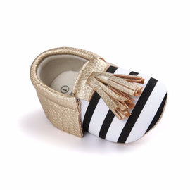 Stripe Tassel Moccasins Shoes - Present Baby | clothes, rompers, bibs, shoes, blankets, dresses & more