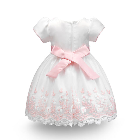Elegant Floral Embroidered Bowknot Dress - Present Baby | clothes, rompers, bibs, shoes, blankets, dresses & more