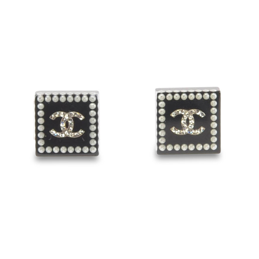 Chanel Black Square Cc Logo Earrings Myfirstshopifystore