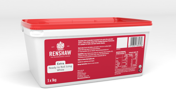 Renshaw Extra White Ready to Roll Fondant Icing 3kg Tub