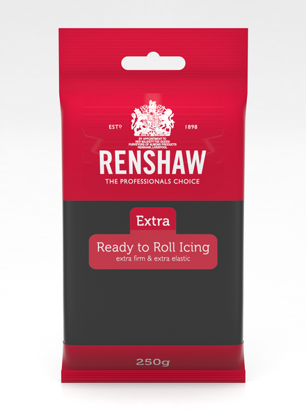 Renshaw Extra Black Ready to Roll Fondant Icing 250g