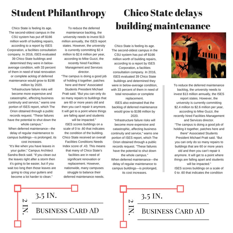 Weekly Print Business Card Sized Ad – The Orion