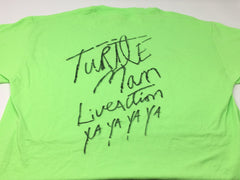 TURTLEMAN LIME GREEN T-SHIRT WITH AUTHENTIC TURTLEMAN SIGNATURE