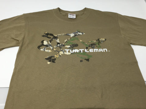 TURTLEMAN YOUTH TAN T-SHIRTS WITH CAMO LOGO AND SIGNATURE