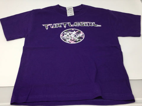 TURTLEGIRL YOUTH PURPLE T-SHIRT WITH CAMO LOGO AND SIGNATURE