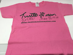 TURTLEMAN T-SHIRT PINK WITH GREEN LOGO WITH SIGNATURE