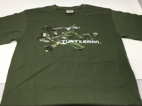YOUTH TURTLEMAN CAMO GREEN SHIRT WITH AUTHENTIC TURTLEMAN SIGNATURE