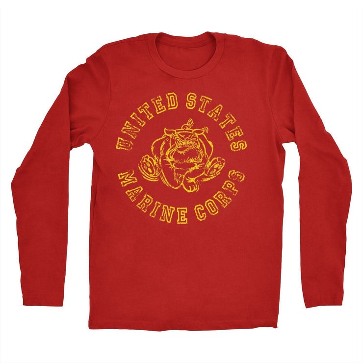 Longsleeve Retro USMC Bulldog  Tshirt - Men's Longsleeve T-shirts- Leatherneck For Life