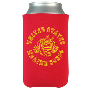 Retro Bulldog Beverage Coolie - Red