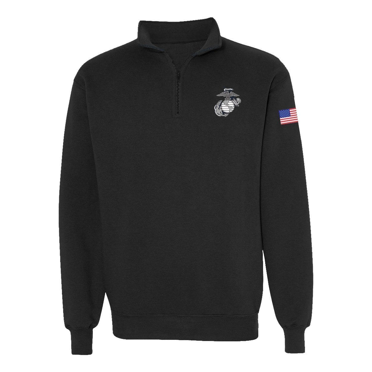 Classic EGA Quarter Zip Sweatshirt - Black - Mens Hoodies- Leatherneck For Life