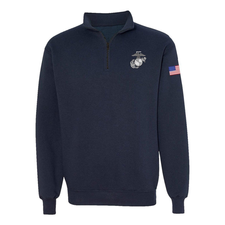 Classic EGA Quarter Zip Sweatshirt - Navy - Mens Hoodies- Leatherneck For Life