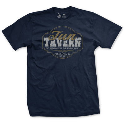 Tun Tavern Sign Navy & Gold T-Shirt