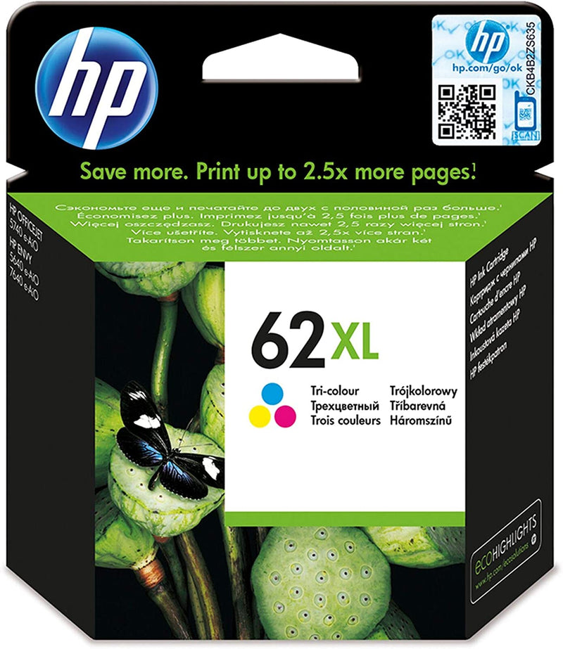 Genuine HP 62XL High Capacity Tri-Colour Ink Cartridge - (C2P07AE Cartridge) - The Cartridge Centre