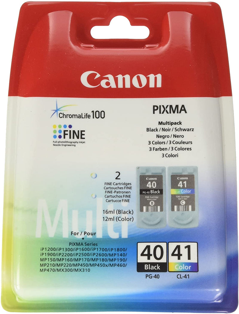 Genuine Canon PG40 / CL-41 Black & Tri-Colour Ink Cartridge Multi Pack (0615B036AA) - The Cartridge Centre