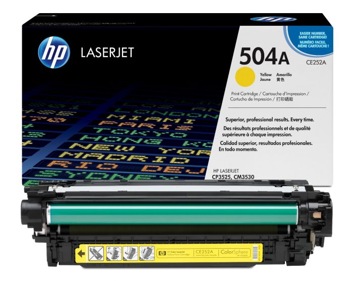 Genuine HP 504A Yellow Toner Cartridge - (CE252A) - The Cartridge Centre