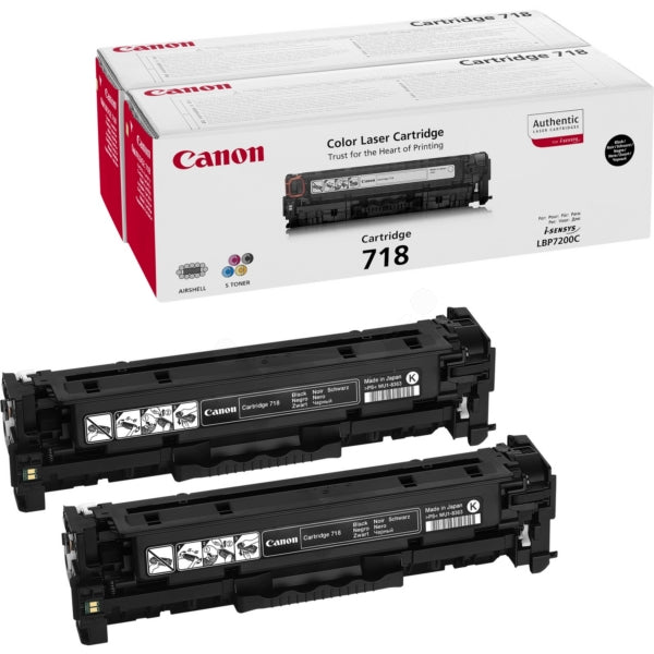 Genuine Black Canon 718 Toner Cartridge Twin Pack - (2662B005AA) - The Cartridge Centre