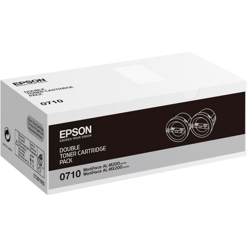 Genuine Black Epson S050710 Toner Cartridge Twin Pack - (C13S050710) - The Cartridge Centre