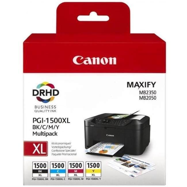 Genuine Canon PGI-1500XL 4 Colour High Capacity Ink Cartridge Multipack - (PGI-1500XL BK/C/M/Y) - The Cartridge Centre