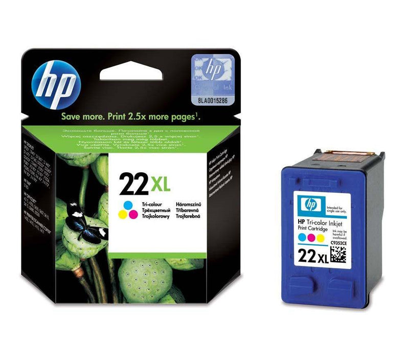 Genuine HP 22XL High Capacity Tri-Colour Ink Cartridge - (C9352CE) - The Cartridge Centre