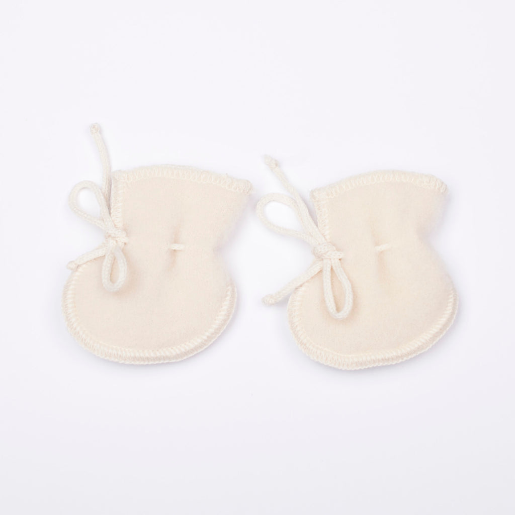 Organic Wool Baby Booties white