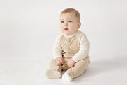 Organic Velour Cotton Body Suit in Ecru/Brown
