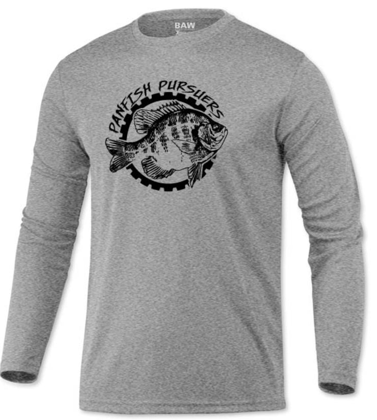 Panfish Pursuers BAW Performace Long Sleeve Shirt, Heather Gray