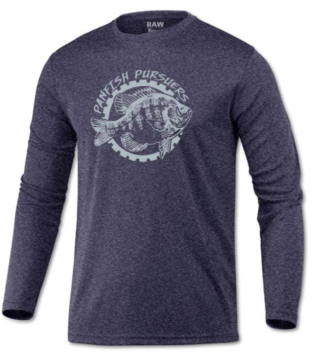 Panfish Pursuers BAW Performace Long Sleeve Shirt, Heather Navy