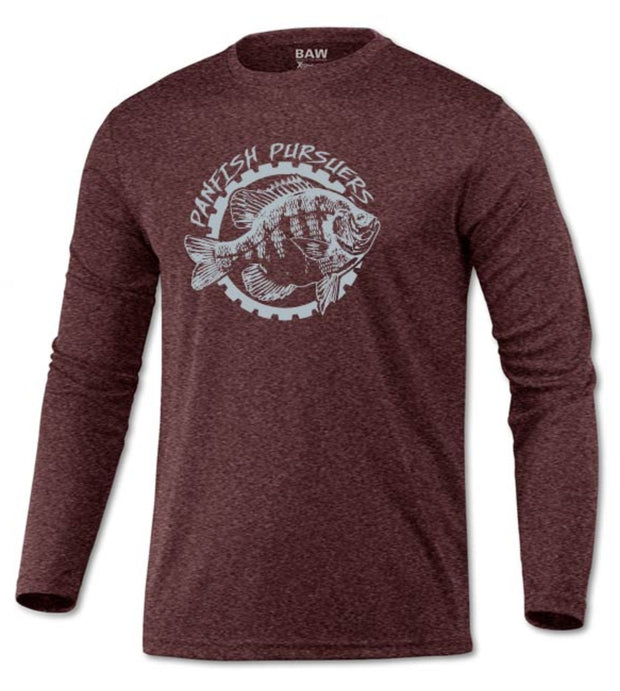 Panfish Pursuers BAW Performace Long Sleeve Shirt, Heather Maroon