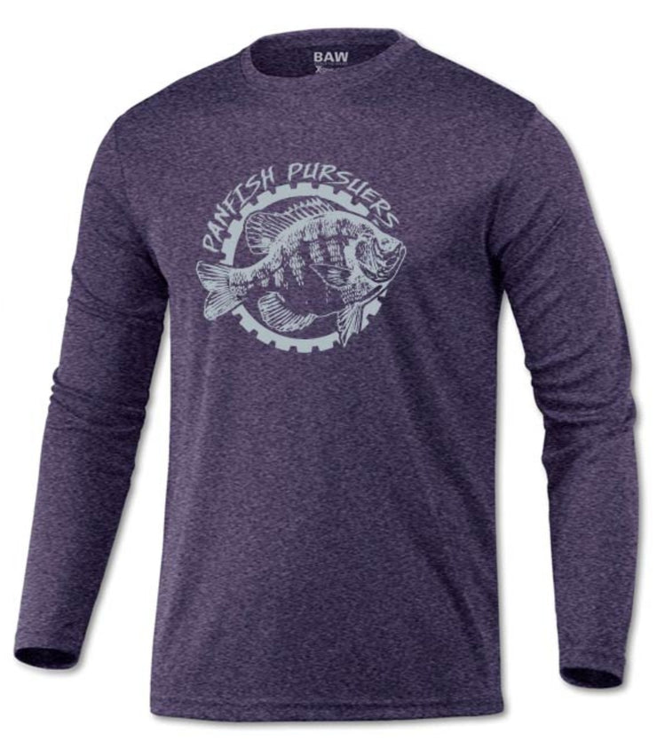 Panfish Pursuers BAW Performace Long Sleeve Shirt, Heather Purple