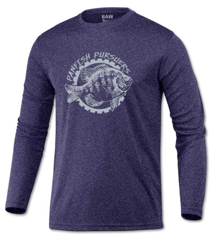 Panfish Pursuers BAW Performace Long Sleeve Shirt, Heather Royal